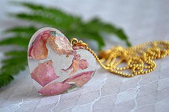 Náhrdelníky - Náhrdelník Ruža v zlate srdce (2453 A CHO) - 9584129_