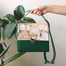 Kabelky - Kožená kabelka (ručne maľovaná kabelka White flowers) - 9582798_