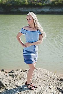 Šaty - Pletené modré šaty s pásikmi - 9584151_