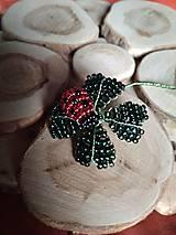Dekorácie - Korálkový štvorlístok s lienkou - 9584127_