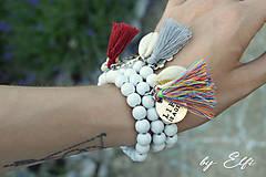 """Náramky - """"Bohochic"""" náramky z drevených korálok (biela farba) - 9584458_"""