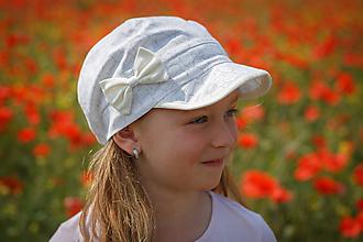 Detské čiapky - Letná šiltovka soft flowers & cream - 9584798_