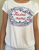 """Tričká - Originálne maľované tričká s ľudovým motívom a nápisom """"šťastná mama"""" - 9582840_"""