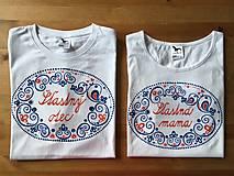 """Tričká - Originálne maľované tričká s ľudovým motívom a nápisom """"šťastná mama"""" - 9583602_"""