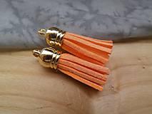 - Strapčeky so zlatou koncovkou- pár (Oranžová) - 9584594_
