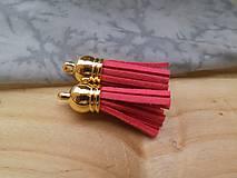 - Strapčeky so zlatou koncovkou- pár (Červená) - 9584642_