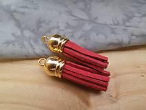 - Strapčeky so zlatou koncovkou- pár (Bordová) - 9584643_