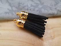 - Strapčeky so zlatou koncovkou- pár (Čierna) - 9584712_