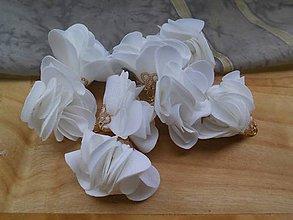 Polotovary - Textilné kvety, filigrán - pár (Biela) - 9584546_