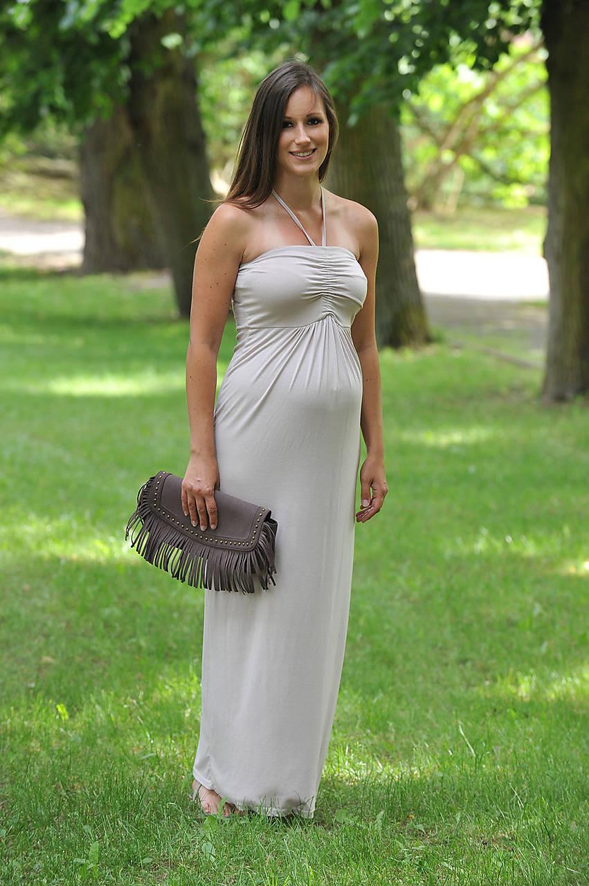 Tehotenské oblečenie - Variabilné dlhé šaty - krémové i v barvách - 9582608_
