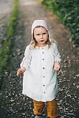 Detské čiapky - Ľanový čepček bez šiltíka (0-2 m - Hnedá) - 9586288_