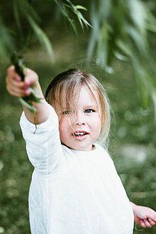 Detské oblečenie - Detská ľanová košieľka na gombičky (Modrá) - 9586314_