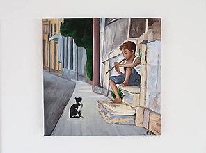Obrazy - Olejomaľba - Chlapec s flautou - 9586254_