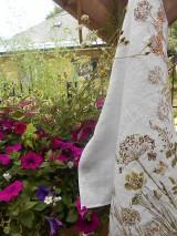 Úžitkový textil - Ľanová utierka, maľovaná, lúčne trávy... - 9584993_