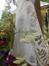 Úžitkový textil - Ľanová utierka, maľovaná, lúčne trávy... - 9584998_