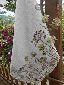 Úžitkový textil - Ľanová utierka, maľovaná, lúčne trávy... - 9585002_