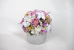 Dekorácie - Dekorácia s hortenziou a ružami - 9587501_