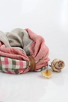 Šatky - Trojfarebný jemný nákrčník z ľanu s koženým remienkom - 9586781_