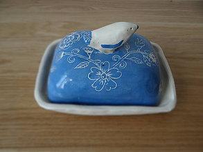 Nádoby - maselnička s modrým vtáčikom - 9587623_
