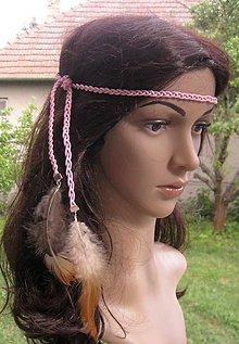 Ozdoby do vlasov - Indiánska čelenka s pierkami č. 2169 - 9587300_