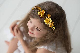 """Ozdoby do vlasov - Detský venček """"slnko s vôňou hrušiek"""" - 9585509_"""