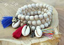 """Náramky - """"Bohochic"""" náramky z drevených korálok (béžová farba) - 9587351_"""