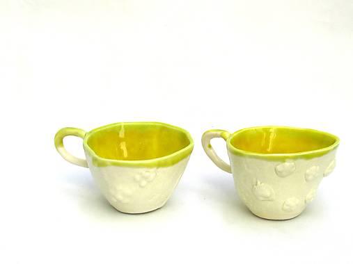 šálka žltá s tanierikom  ginko list