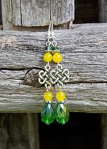 Náušnice - Zelené kvapky so žltým jadeitom - náušnice - 9586979_