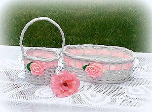 Košíky - Košík svadobný so saténovou ružou - 9585943_