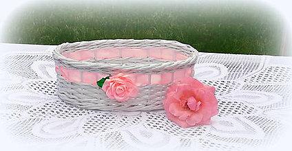 Košíky - Košík svadobný so saténovou ružou (oválny kočík 27 x 19 výška 8 cm) - 9585965_