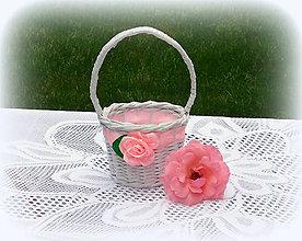 Košíky - Košík svadobný so saténovou ružou (košíček na lupene 13 x 24) - 9585977_