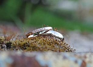 Prstene - Obrúčky s diamantami ružová a biela - 9587962_