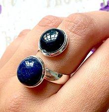 Prstene - Harmony of Gemstones Ring - Blue Sandstone & Lapis Lazuli / Prsteň Harmónia minerálov - modrý sln. kameň a lazurit /0196 - 9588827_