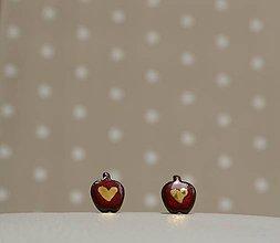 Náušnice - Keramické puzetky so zlatom - červené jabĺčko - 9590819_
