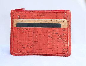 Peňaženky - Korková peňaženka červená - 9588407_