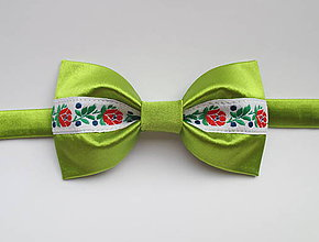 Doplnky - pánsky motýlik FOLK svetlo zelený neónový - 9589636_