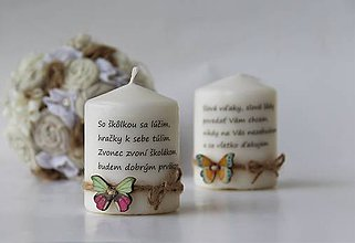 Svietidlá a sviečky - Duo dekoračných sviečok pre pani učiteľku - 9590319_