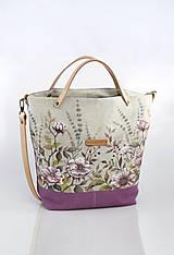 Kabelky - Veľká dámska ľanová kabelka s ručnou maľbou