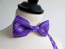 Doplnky - pánsky folk fialový motýlik - 9589305_