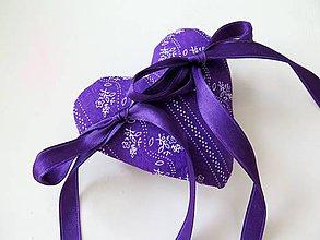 Drobnosti - fialové srdiečko na obrúčky - 9589390_