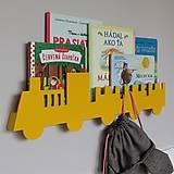 Detské doplnky - nástenný vešiak/polička 'na vlaku' žltý - 9589425_