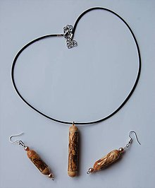 Sady šperkov - Drevený set náhrdelník/ náušnice - Cestičky - 9590462_