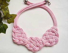 """Náhrdelníky - Uzlový náhrdelník """"Ružové obláčiky"""" - 9588927_"""
