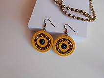 Náušnice - Žlté velúrovky