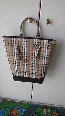 Veľké tašky - Béžová károvaná taška do ruky - 9589137_