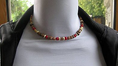 Šperky - Pánsky náhrdelník okolo krku z minerálov - chirurgická oceľ (drevený + koral + rudraksha, chirurgická oceľ, č. 2172) - 9589546_