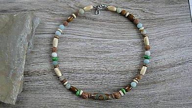 Šperky - Pánsky náhrdelník okolo krku z minerálov - chirurgická oceľ (Amazonit + DZI+drevené korálky , č. 2173) - 9589561_