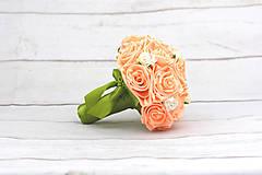 Kytice pre nevestu - VÝPREDAJ! Saténová kytica marhuľová ruže - 9588694_