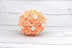 Kytice pre nevestu - VÝPREDAJ! Saténová kytica marhuľová ruže - 9588695_