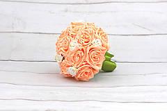 Kytice pre nevestu - VÝPREDAJ! Saténová kytica marhuľová ruže - 9588697_